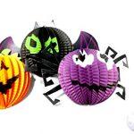 [B015YZK8O8] ハロウィン 飾り 提灯 ちょうちん セット オバケ・クモ・コウモリ と ハロウィン かぼちゃ LED レインボー ライト セット (カボチャ、コウモリ②、クモ② 3点セットとLED2個)