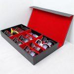 [B010VUVBPQ] 12本 収納 メガネ サングラス コレクション PVCレザー ケース 高級感 バツグン (赤)