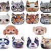 [B01F1U2BY6] HIROANO 猫顔 猫 犬顔 犬 クッション かわいい ふっくら やわらか アニマル グッズ 雑貨 抱き枕 ぬいぐるみ ハンドタオル付き (パグ 小)