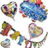 [B00LY2I546] ハッピー ☆ バースディ お誕生日 パーティ 飾りつけ セット 特大バルーン 風船 1個 & ハート型 バルーン 風船 3種 & HAPPY BIRTHDAY バナー 【わくわく☆てんこもりセット!】 (藍気球)