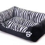 [B01B86PACC] wan nyan paradise 丸洗い 可能 犬 猫 等 ペット 用 スクエア ベッド ゼブラ 模様 (M, ゼブラ柄)