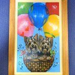 [B00LLB63LM] デコパージュ 壁掛け 犬 ヨークシャテリア バルーン