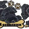 [B009329NSQ] 犬ステッカー ミニチュア・シュナウザー19 ブラック マグネット