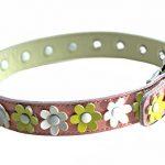 [B00LS33D7K] 中型犬 M (首周り34~40cm) お花畑の首輪 本革製 お花 首飾り サイズ調整可能 です。ピンク