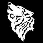 [B012KFX85G] 狼 おおかみ オオカミ WOLF ウルフ 遠吠え ハウリング 動物 シルエット マーク ステッカー シール デカール 10cm×7cm ホワイト